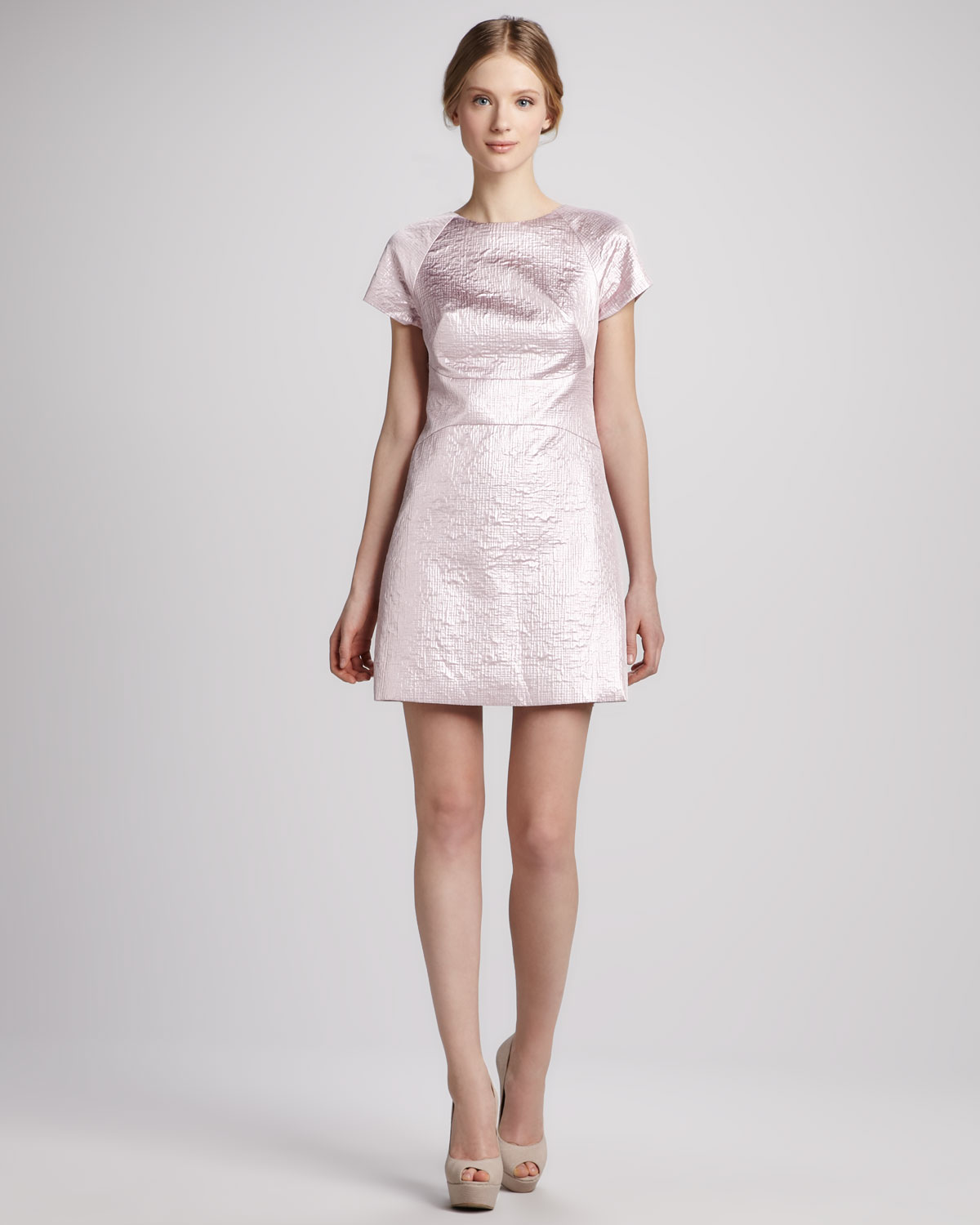 Tibi Paneled Metallic Jacquard Dress in Pink (pale pink ...