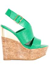 Alice + Olivia Steffie Lizard Embossed Leather Wedge in Green - Lyst