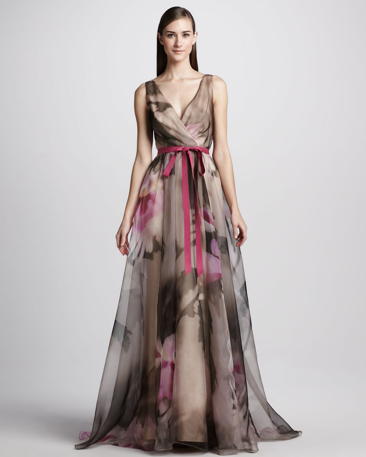 Lyst - Badgley Mischka Floral print Organza Ball Gown in Gray