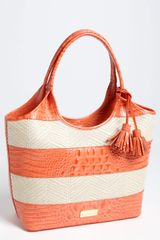Brahmin Vineyard Small Leather Raffia Shopper - Lyst