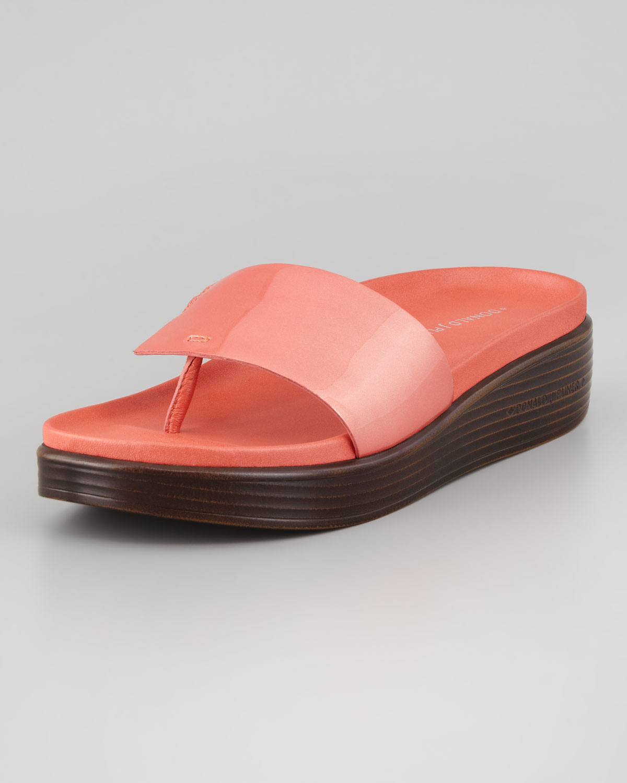 7dfc9d208 Lyst - Donald J Pliner Fifi Patent-strap Slide Thong Sandal Salmon ...