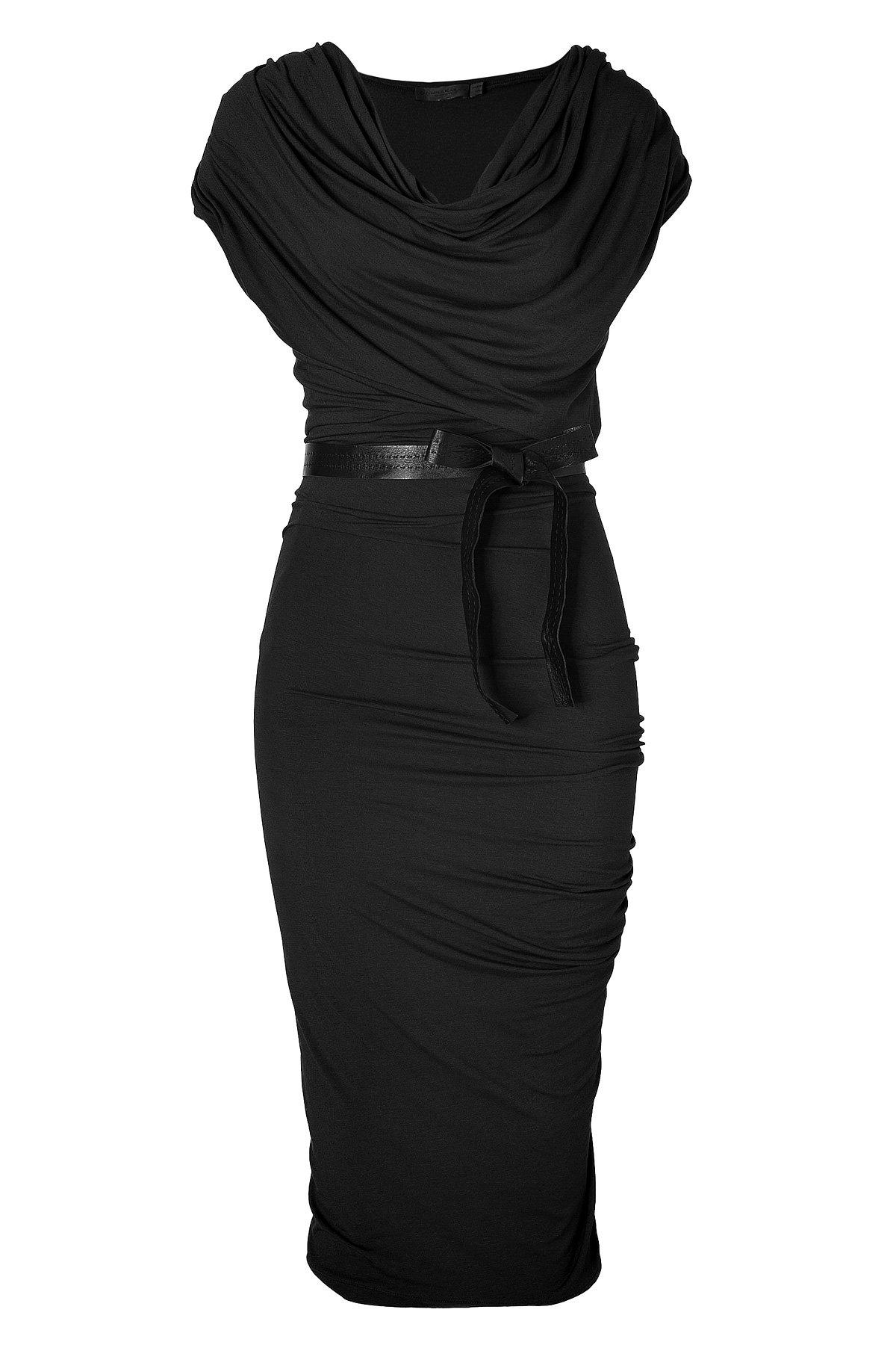 Donna Karan Black Draped Jersey Dress With Belt In Black