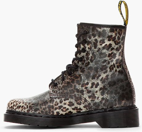 Dr Martens Leopard Print Leather Boots In Animal Leopard
