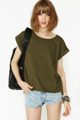 Nasty Gal On The Loose Tee Olive - Lyst