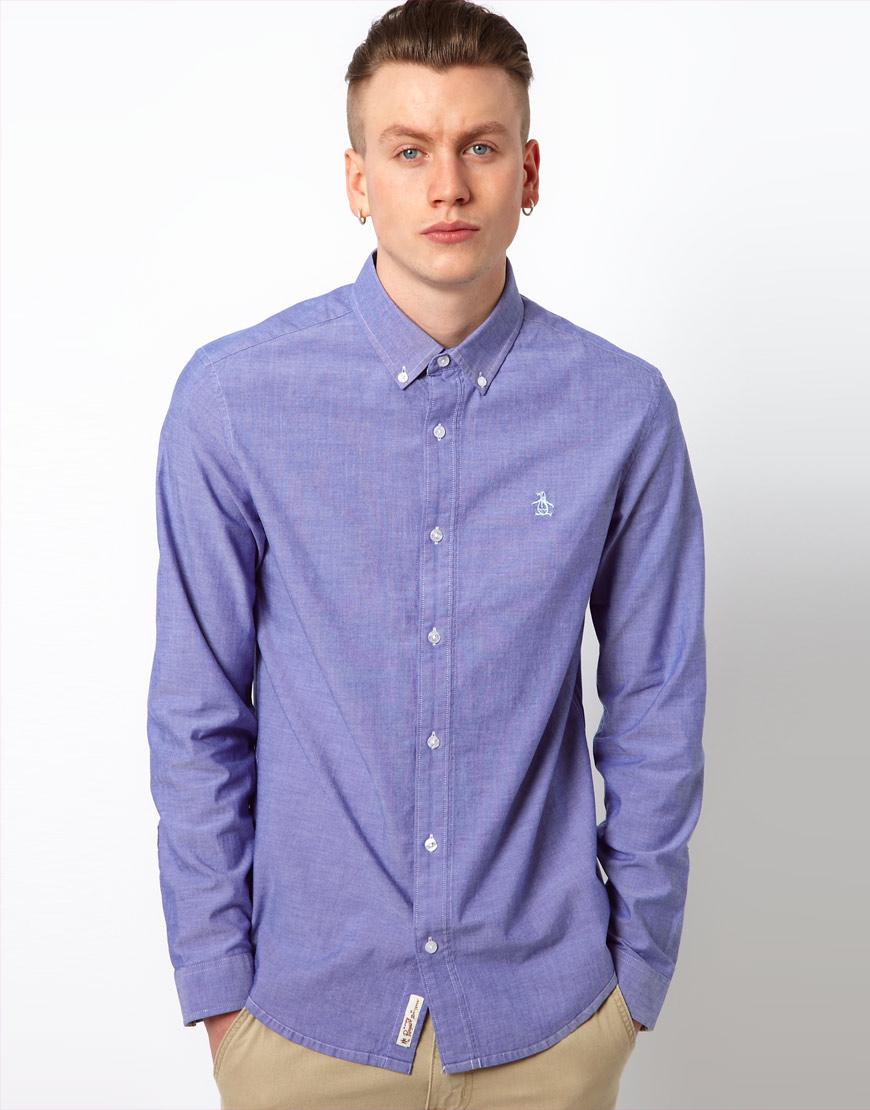 original penguin oxford shirt in blue for men lyst