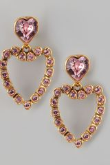 Oscar de la Renta Heart Clip Earrings - Lyst