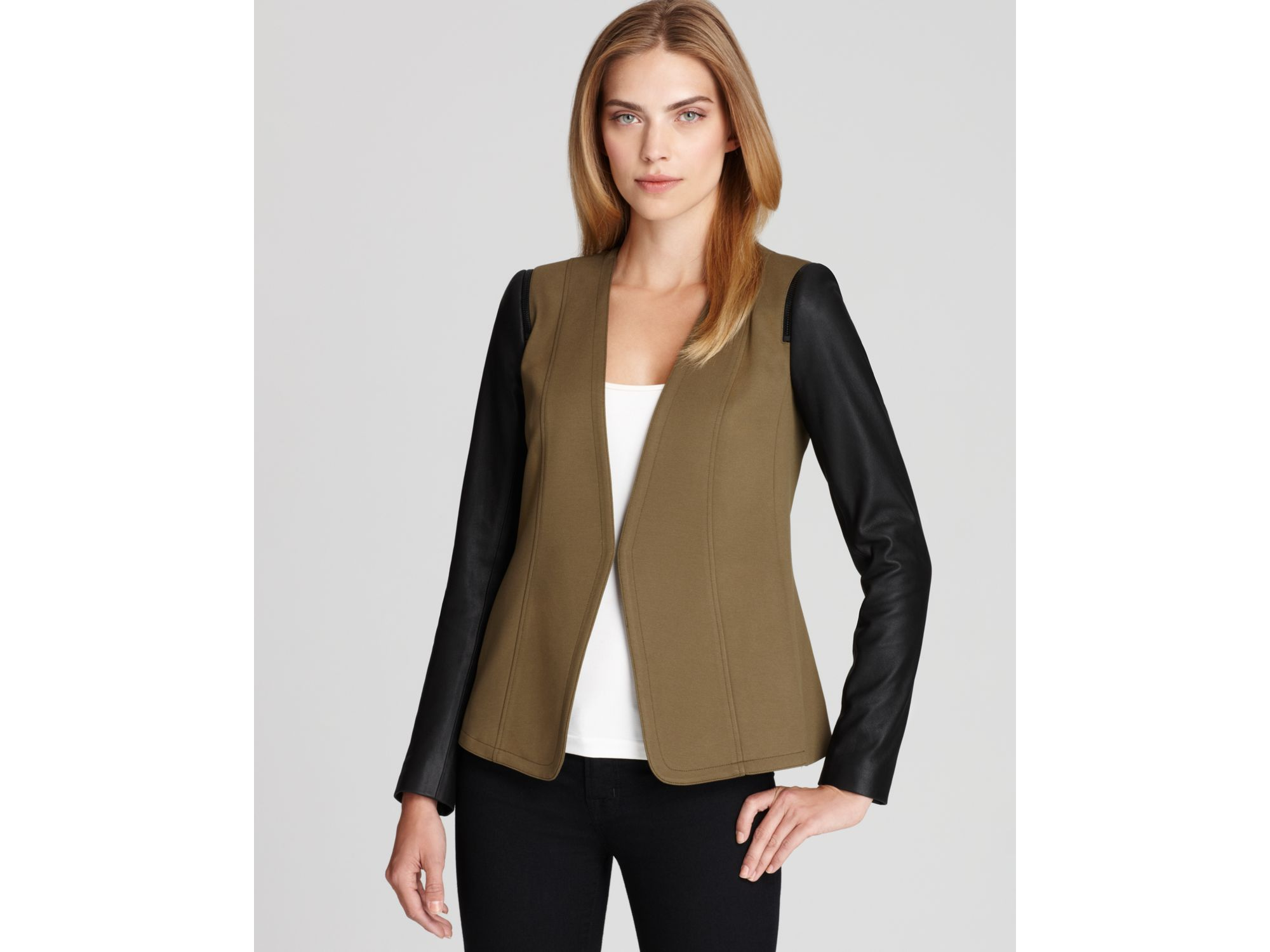 Lyst Theory Leather Sleeve Blazer In Brown