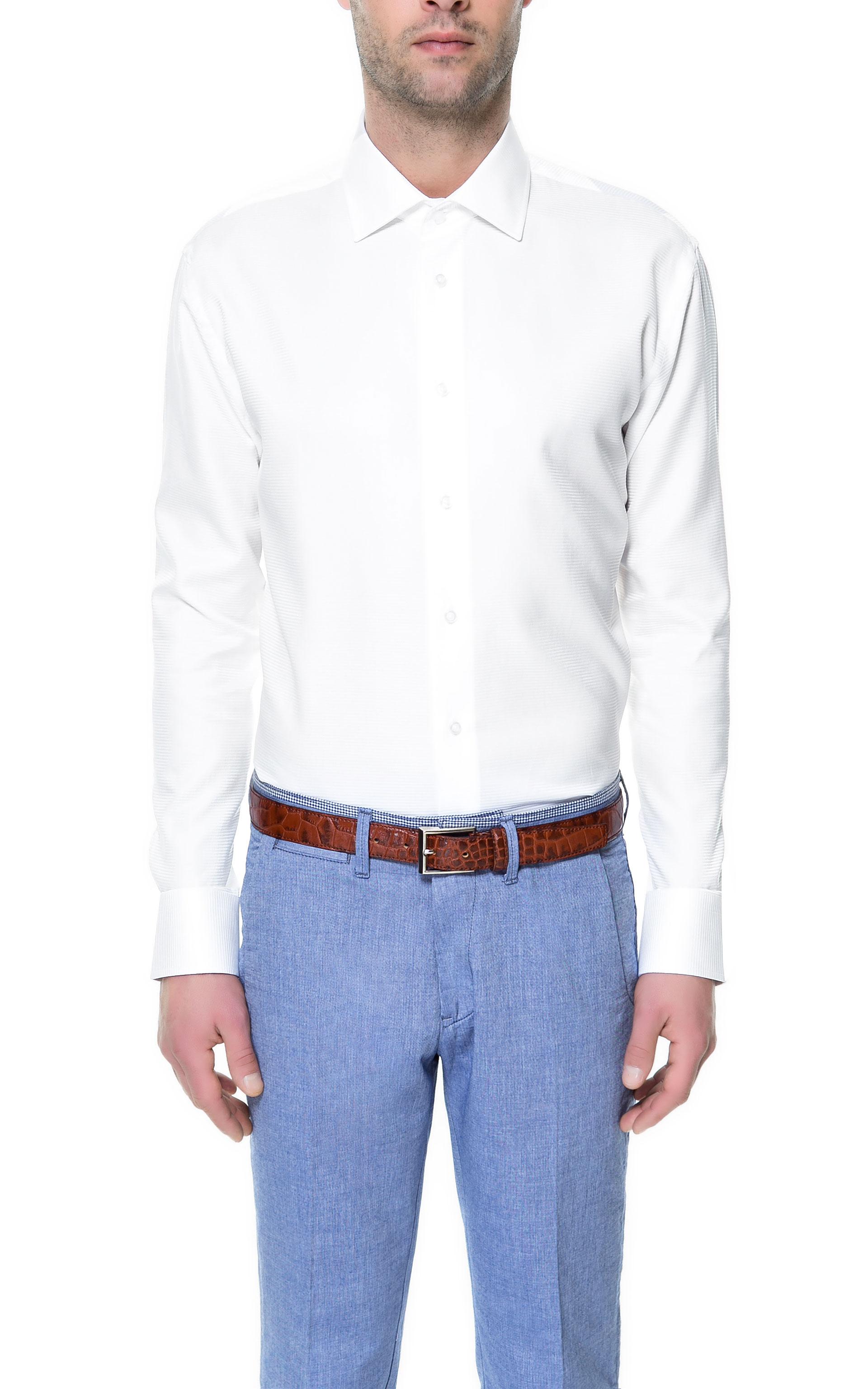 Zara horizontal stripe shirt in white for men lyst for Horizontal striped dress shirts men