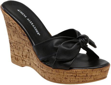Athena Alexander Rusty Wedge Slide in (end of color list black leather