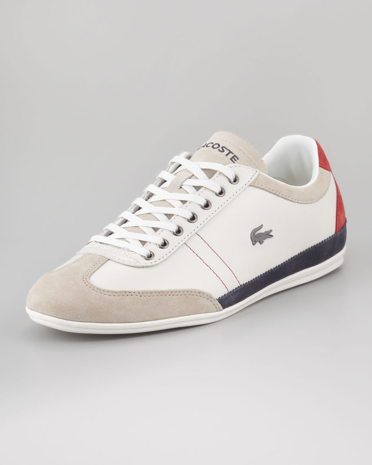 Lyst Lacoste Misano Tricolor Leather Sneaker In Natural