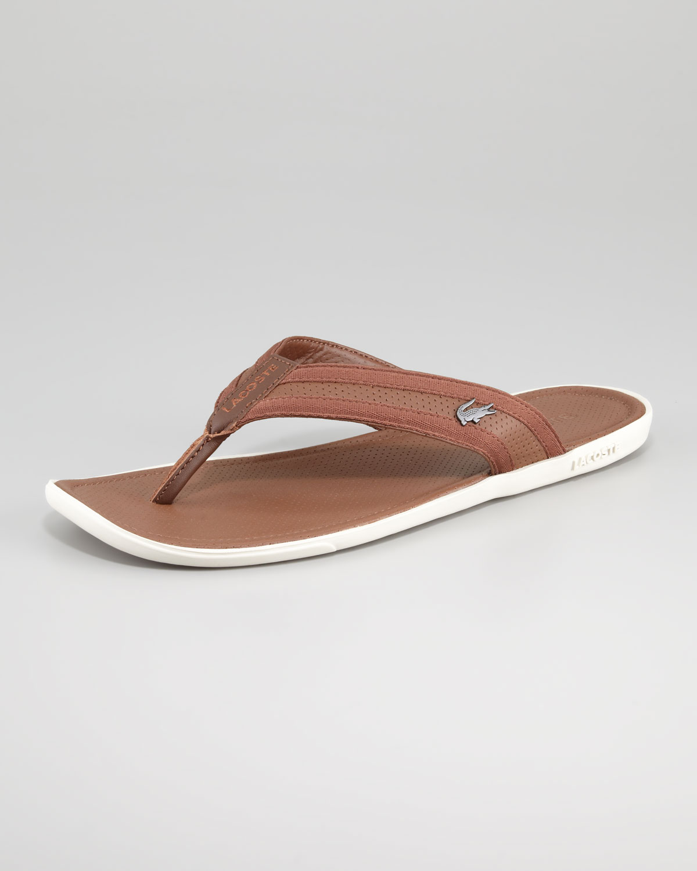 3f0de0d16d8f Lyst - Lacoste Carros Leather Thong Sandal in Natural for Men