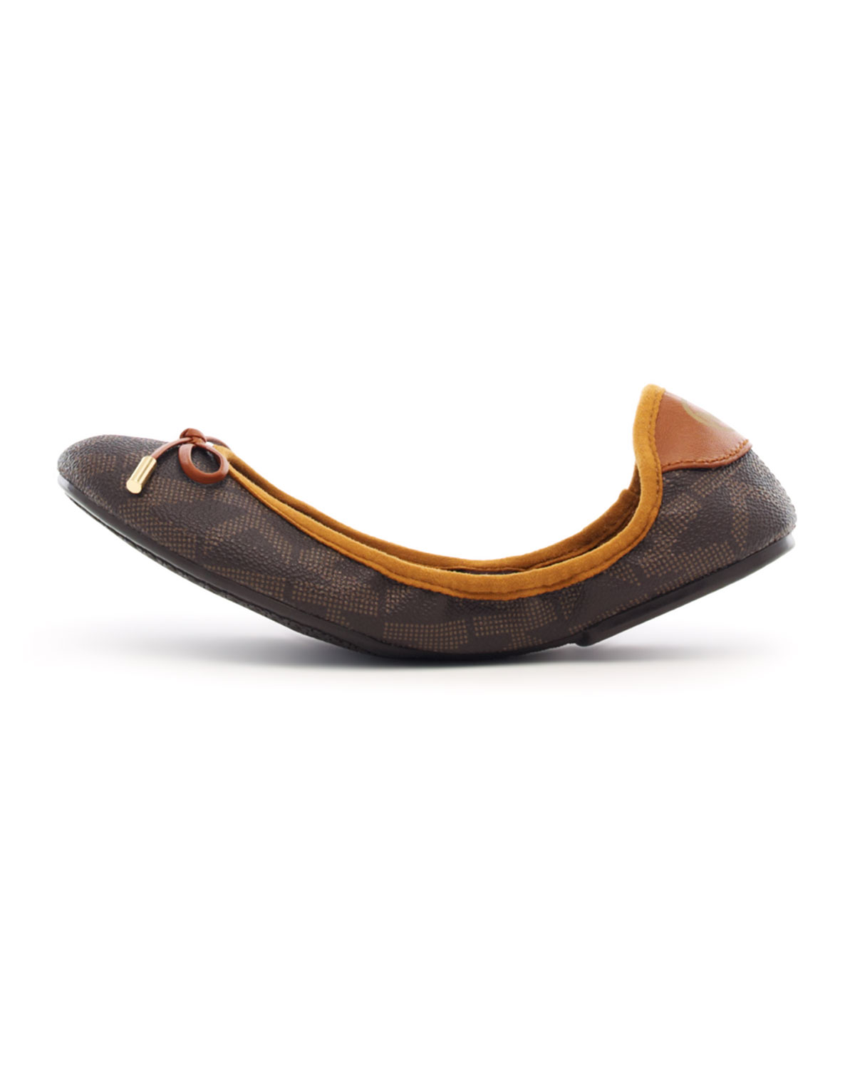 Brown Leather Ballerina Flat Shoes