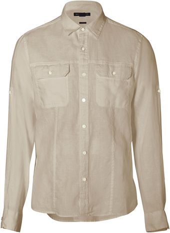 Michael Kors Putty Two Pocket Linen Shirt - Lyst