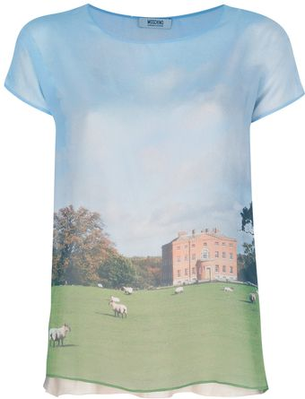 Moschino Cheap & Chic Country Estate Print T-Shirt - Lyst