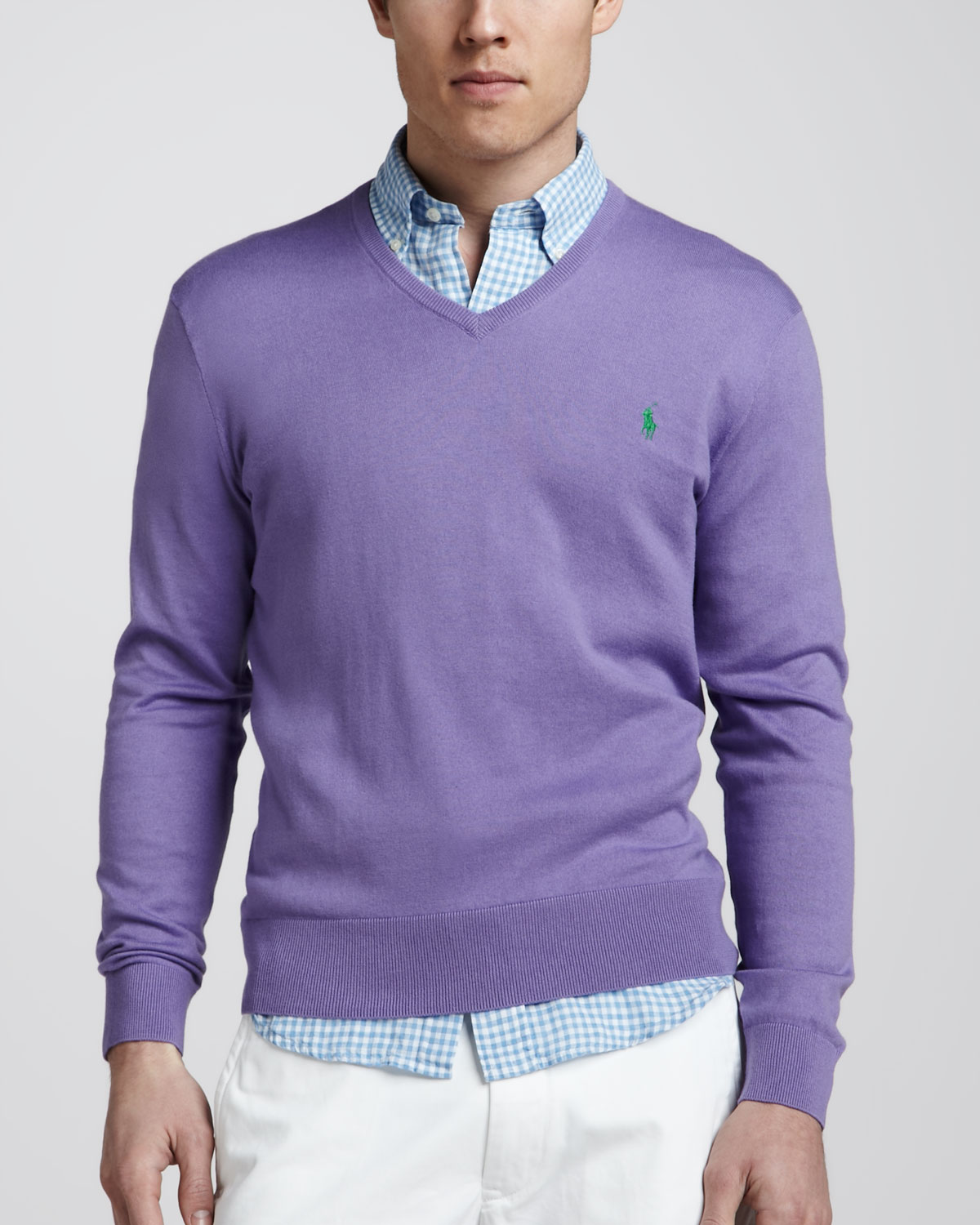 Polo ralph lauren Vneck Cottoncashmere Sweater in Purple for Men ...