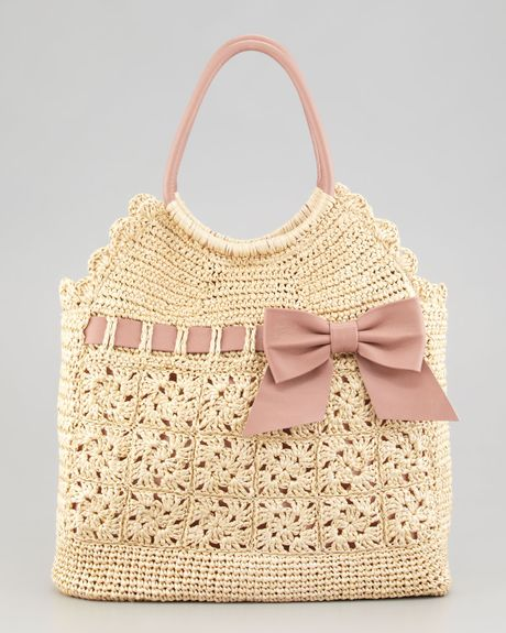 Red Valentino Leather and Crochet Raffia Tote Bag in Beige (multi colors)