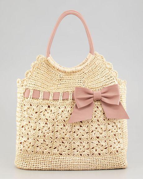 Red Valentino Leather and Crochet Raffia Tote Bag in Beige (multi colors)