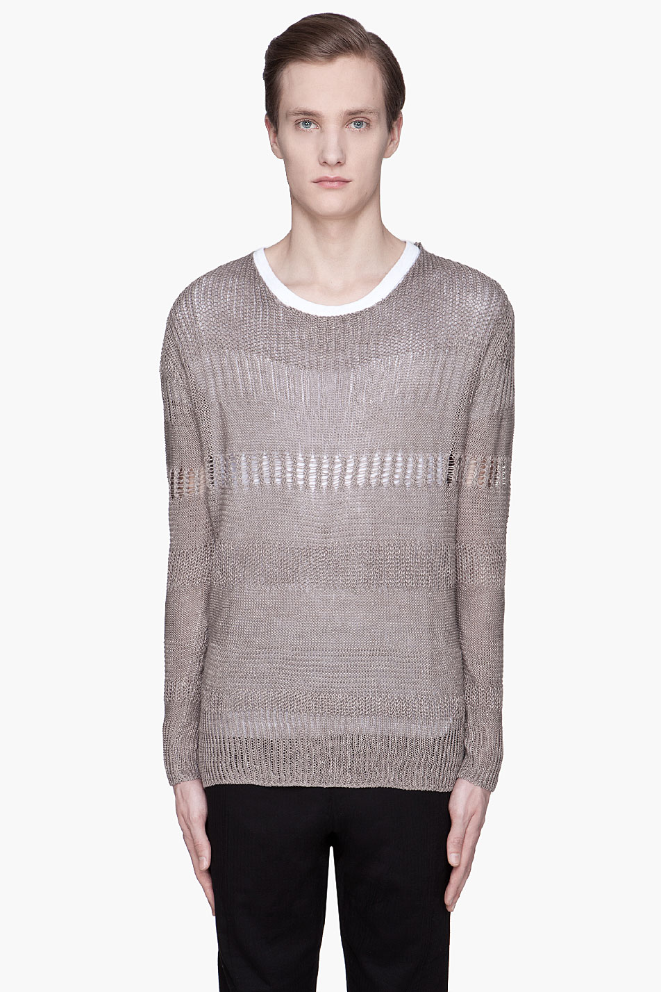 Open Knit Sweater Pattern : Robert geller Warm Grey Open Knit Crewneck Sweater in Gray ...