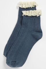 Topshop Lace Trim Ankle Socks - Lyst