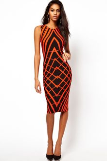 Bodycon Dress on Asos Red Midi Bodycon Dress In Rib With Lace