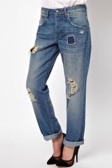 Asos Asos Saxby Boyfriend Jeans in Light Wash Vintage Rip and Repair