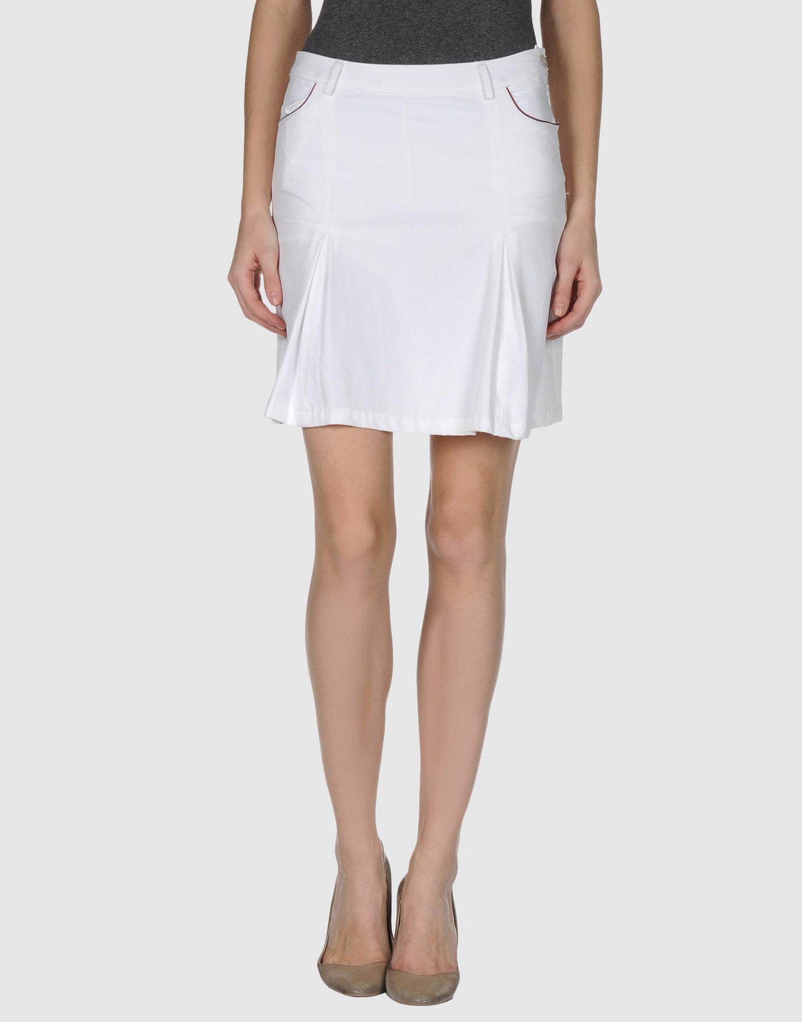 ea7 mini skirt in white lyst