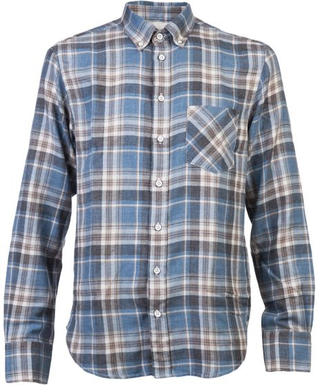 Rag & Bone Plaid Shirt in Blue for Men - Lyst