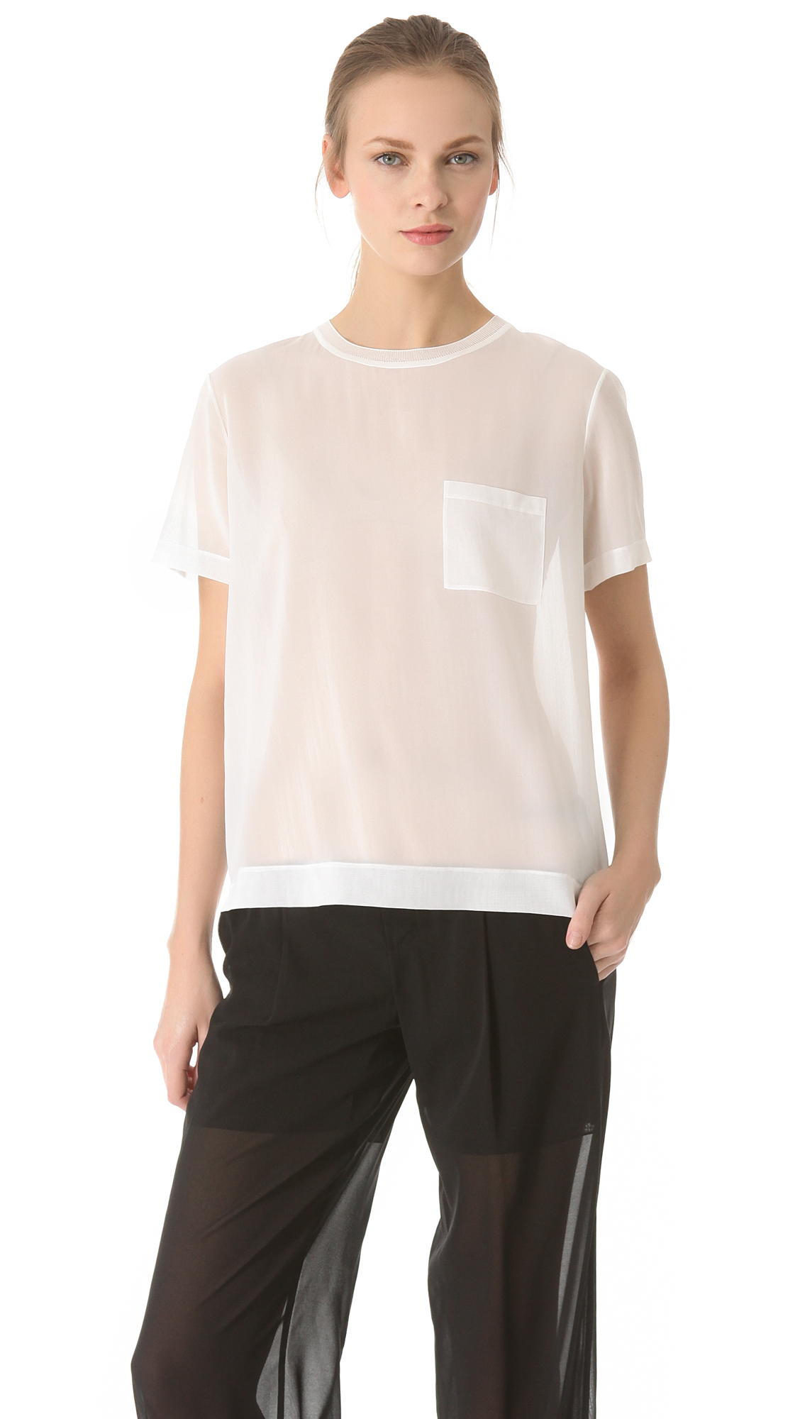 Vince sheer pocket tee in white lyst for Vince tee shirts sale