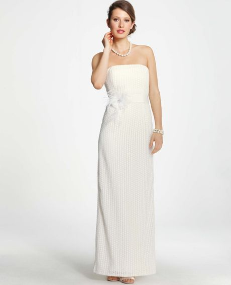 Ann taylor petite lace column wedding dress in white for Wedding dresses ann taylor