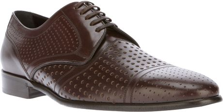 Dolce & Gabbana Perforated Laceup Shoe in Brown for Men - Lyst
