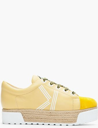 Kenzo Yellow Leather Sneeky Espadrille Platform Sneakers - Lyst