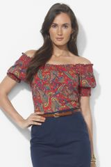 Lauren by Ralph Lauren Smocked Paisley Cotton Top - Lyst