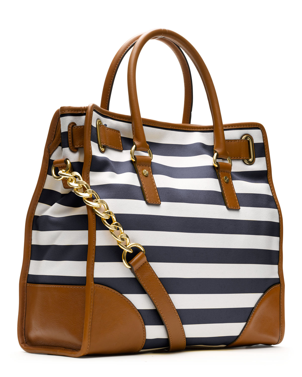 b92dc9ee53 Lyst - Michael Kors Large Hamilton Striped Canvas Tote in Blue