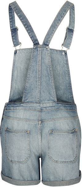 Moto Moto Bleach Denim Dungarees in Blue (bleach stone) - Lyst