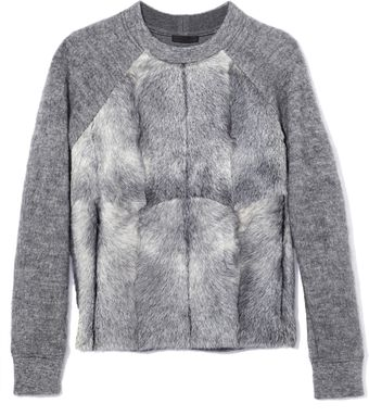 Alexander Wang Brushed Mohair and Goat Fur Pullover - Lyst