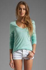 American Vintage Jacksonville Long Sleeve V Neck Tee in Pool - Lyst