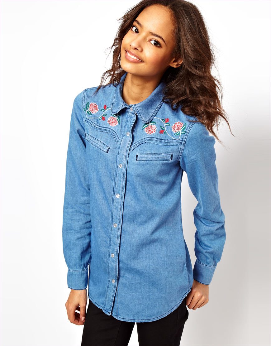 Asos washed denim shirt with floral embroidery in blue lyst for Blue denim shirt for womens