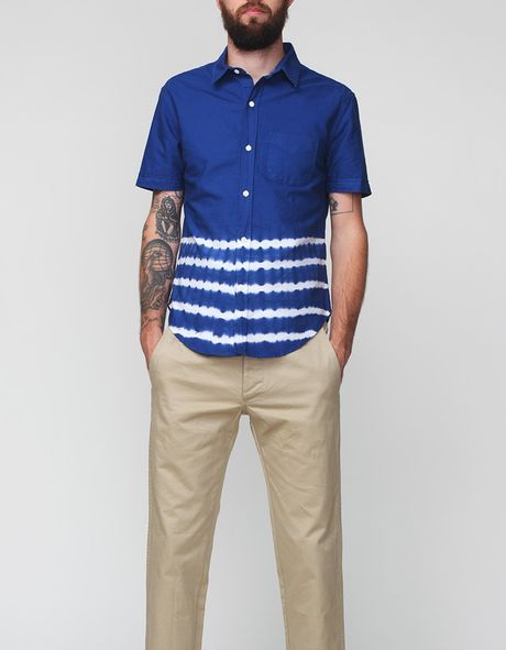 Band Of Outsiders Placement Stripe Short Sleeve Shirt in Blue for Men (navy)
