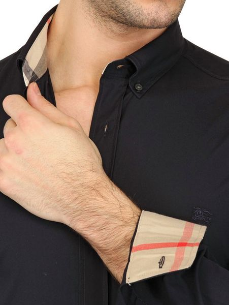 Burberry Brit Button Down Collar Stretch Poplin Shirt In