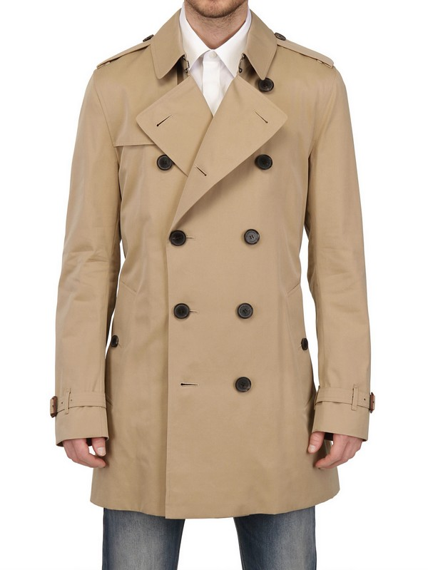 26dab011cd78 Lyst - Burberry Double Breasted Cotton Trench Coat in Natural for Men