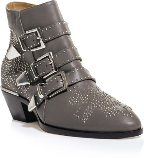 chlo buckle up boot in gray grey lyst. Black Bedroom Furniture Sets. Home Design Ideas