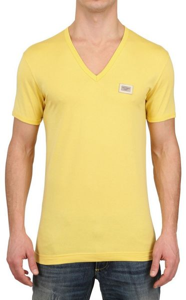 Dolce Gabbana Light Jersey V Neck T Shirt In Yellow For
