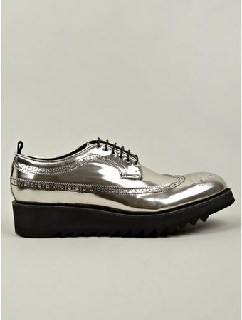 DSquared2 Mens Silver Shark Lace Up Leather Shoe - Lyst