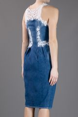 Ermanno Scervino Denim Fitted Midi Dress in Blue (denim) - Lyst