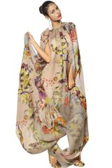 Etro Draped Printed Silk Organza Long Dress - Lyst