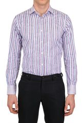 Etro Paisley Jacquard Striped Cotton Shirt - Lyst