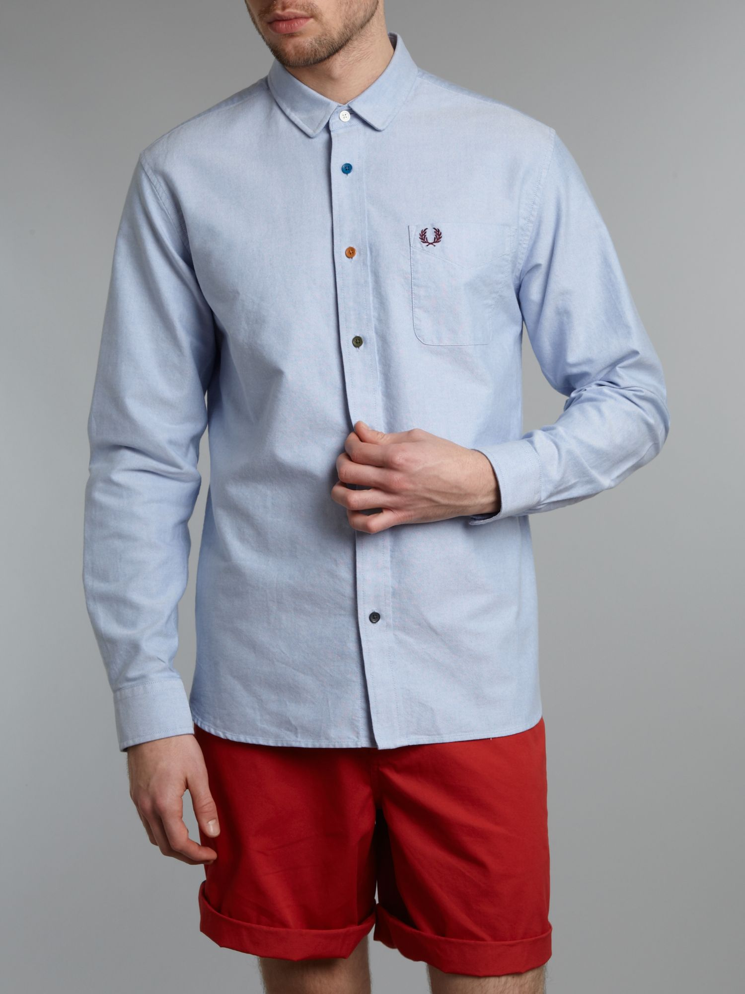 Fred perry Long Sleeved Oxford Shirt with Coloured Buttons in Blue ...