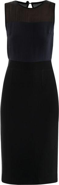 Lulu & Co Sheer Top Dress in Blue (navy)