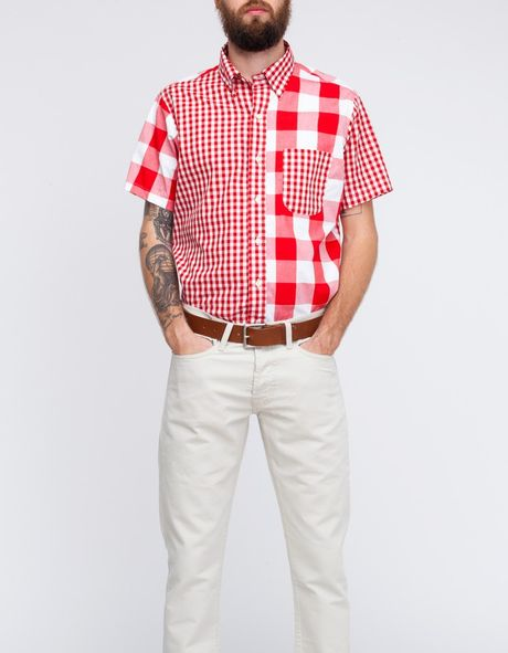 Mark Mcnairy New Amsterdam Short Sleeve Gingham Fun Shirt in White for Men (red)