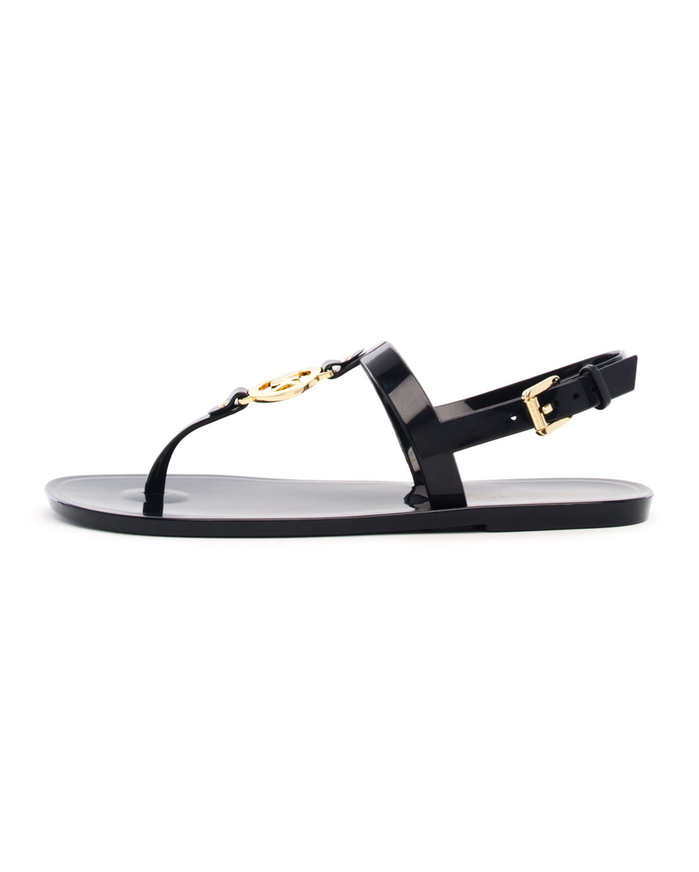 5e8ac07f1664e4 Lyst - Michael Kors Sondra MK Jelly Thong Sandal in Black